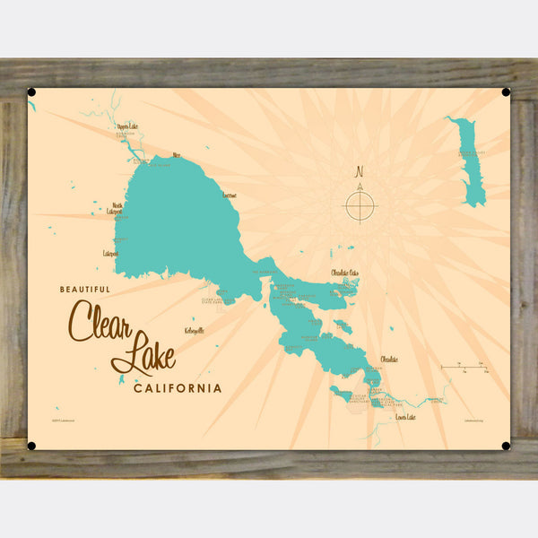 Clear Lake California, Wood-Mounted Metal Sign Map Art