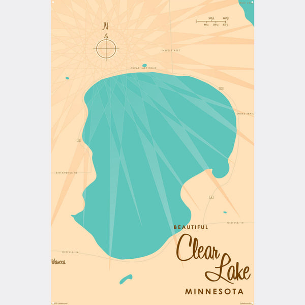 Clear Lake Minnesota, Metal Sign Map Art