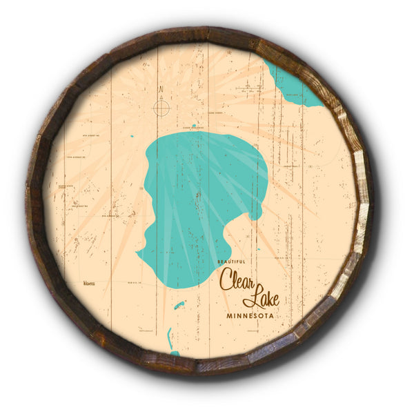 Clear Lake Minnesota, Rustic Barrel End Map Art