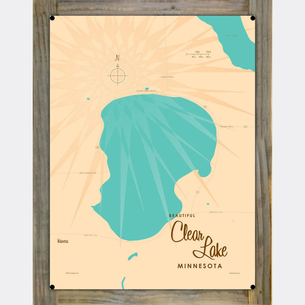 Clear Lake Minnesota, Wood-Mounted Metal Sign Map Art