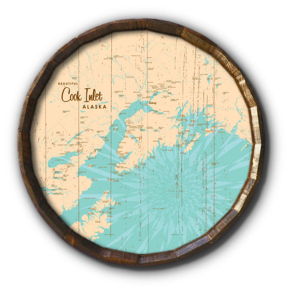 Cook Inlet Alaska, Rustic Barrel End Map Art