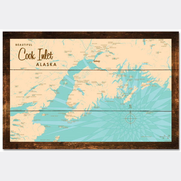 Cook Inlet Alaska, Rustic Wood Sign Map Art