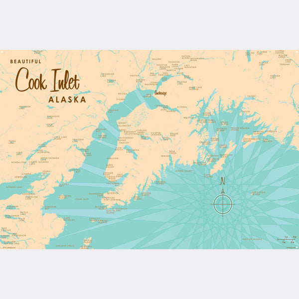Cook Inlet Alaska, Metal Sign Map Art