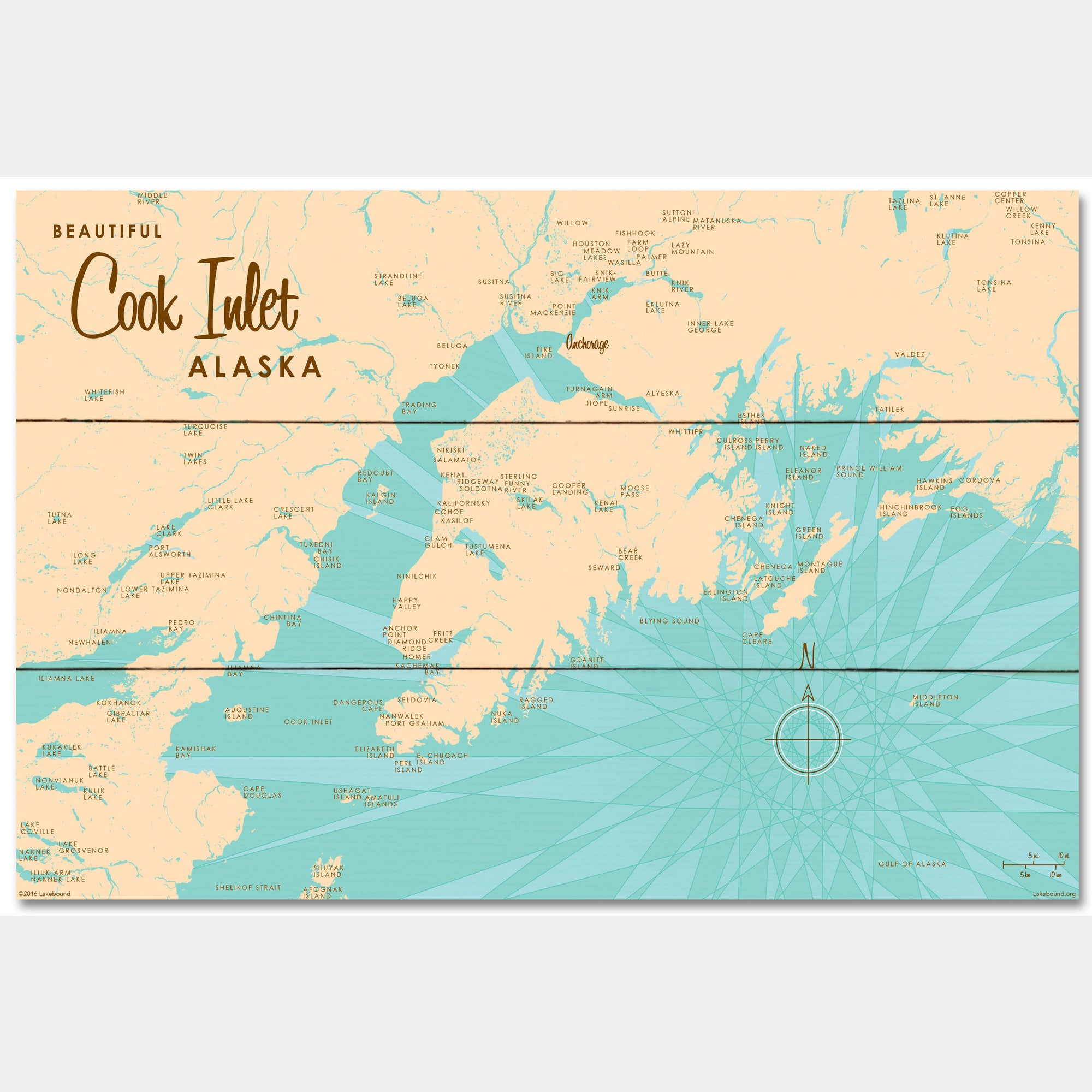 Cook Inlet Alaska, Wood Sign Map Art