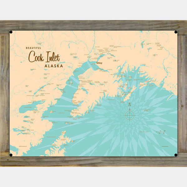 Cook Inlet Alaska, Wood-Mounted Metal Sign Map Art