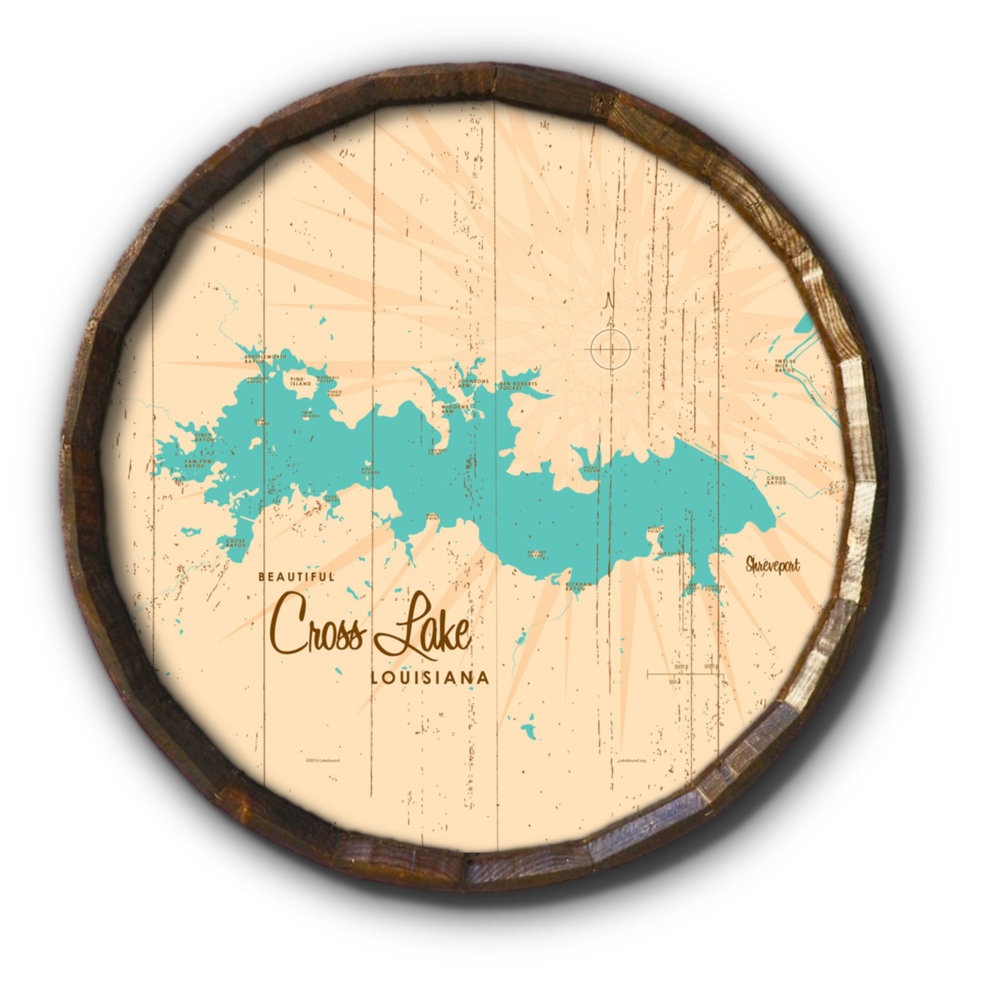 Cross Lake Louisiana, Rustic Barrel End Map Art