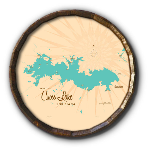Cross Lake Louisiana, Barrel End Map Art
