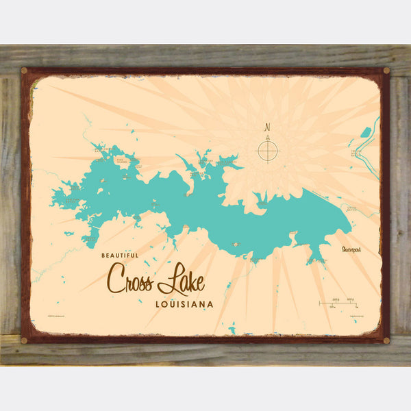 Cross Lake Louisiana, Wood-Mounted Rustic Metal Sign Map Art