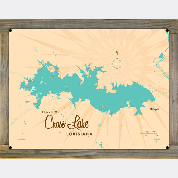 Cross Lake Louisiana, Wood-Mounted Metal Sign Map Art