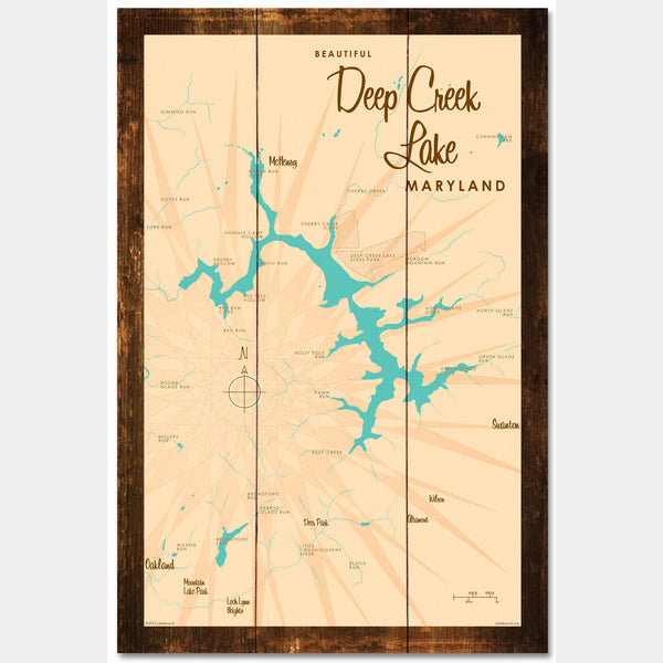 Deep Creek Lake Maryland, Rustic Wood Sign Map Art