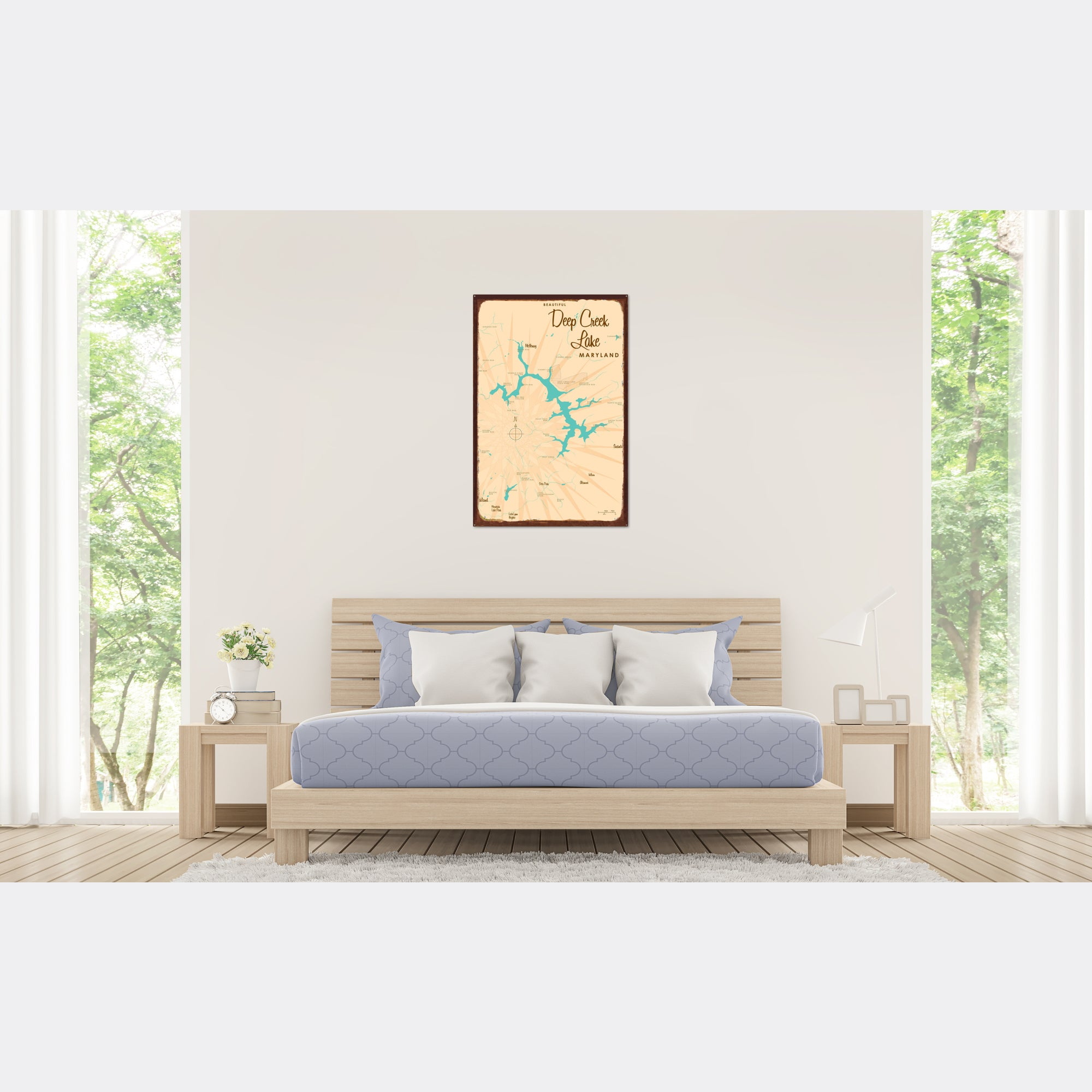Deep Creek Lake Maryland, Rustic Metal Sign Map Art
