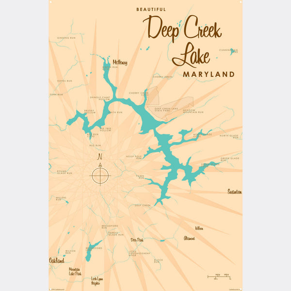 Deep Creek Lake Maryland, Metal Sign Map Art