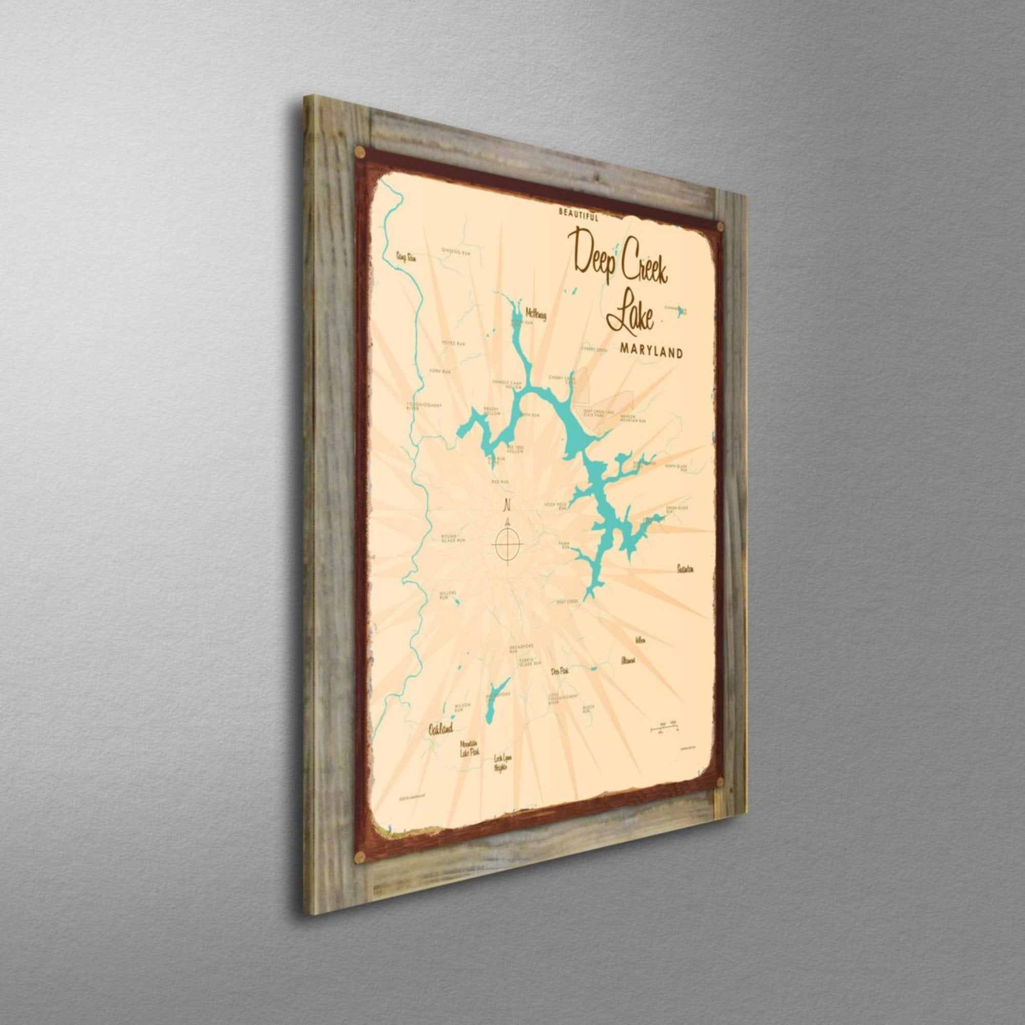 Deep Creek Lake Maryland, Wood-Mounted Rustic Metal Sign Map Art