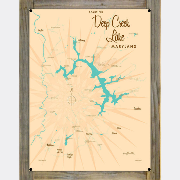 Deep Creek Lake Maryland, Wood-Mounted Metal Sign Map Art