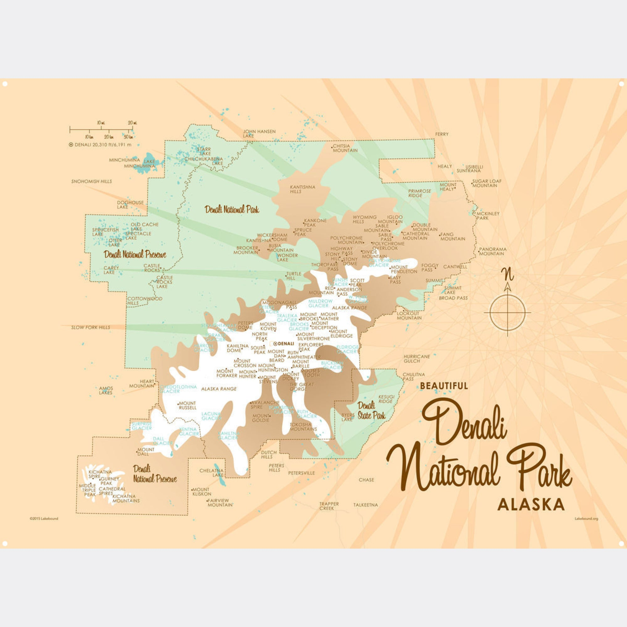 Denali National Park Alaska, Metal Sign Map Art