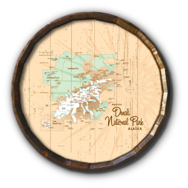 Denali National Park Alaska, Rustic Barrel End Map Art
