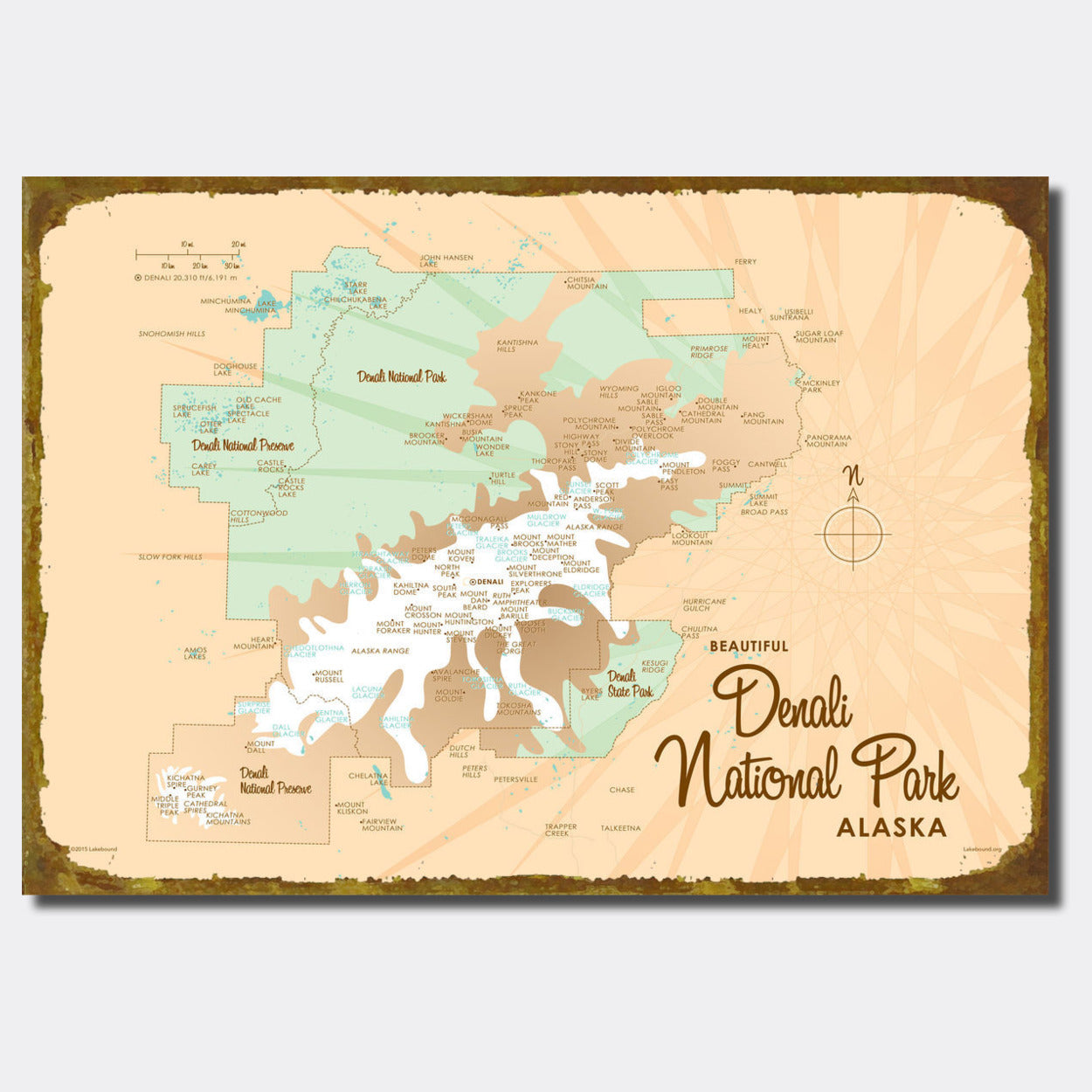 Denali National Park Alaska Sign Map Art Lakebound