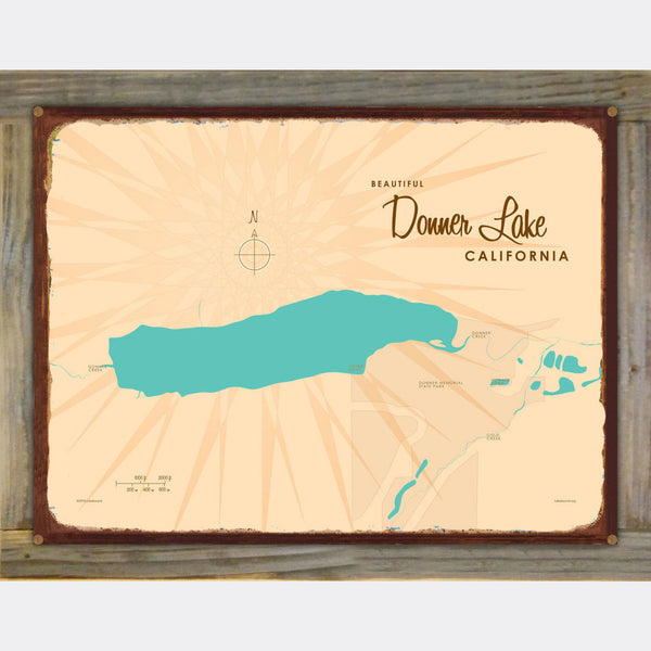 Donner Lake California, Wood-Mounted Rustic Metal Sign Map Art