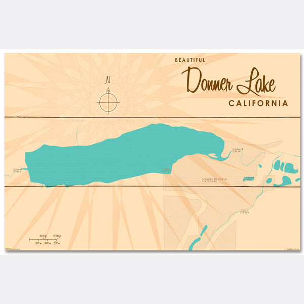 Donner Lake California, Wood Sign Map Art