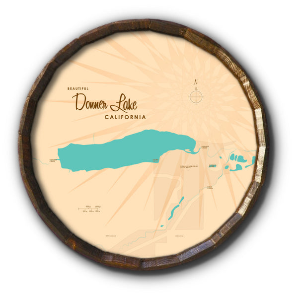 Donner Lake California, Barrel End Map Art