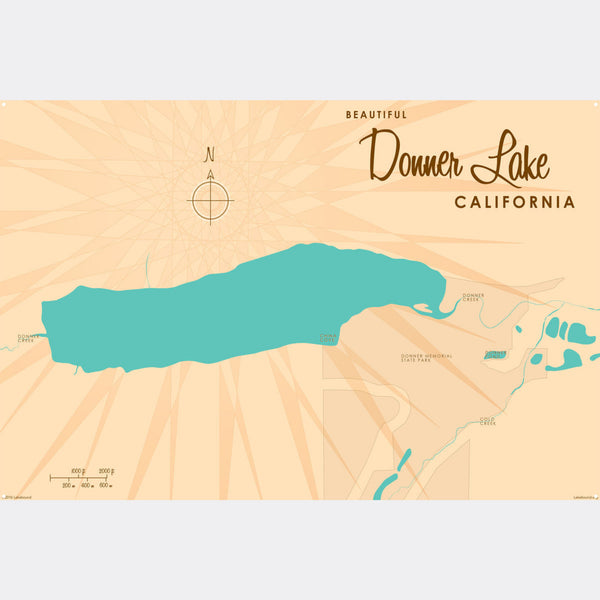 Donner Lake California, Metal Sign Map Art