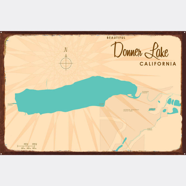 Donner Lake California, Rustic Metal Sign Map Art