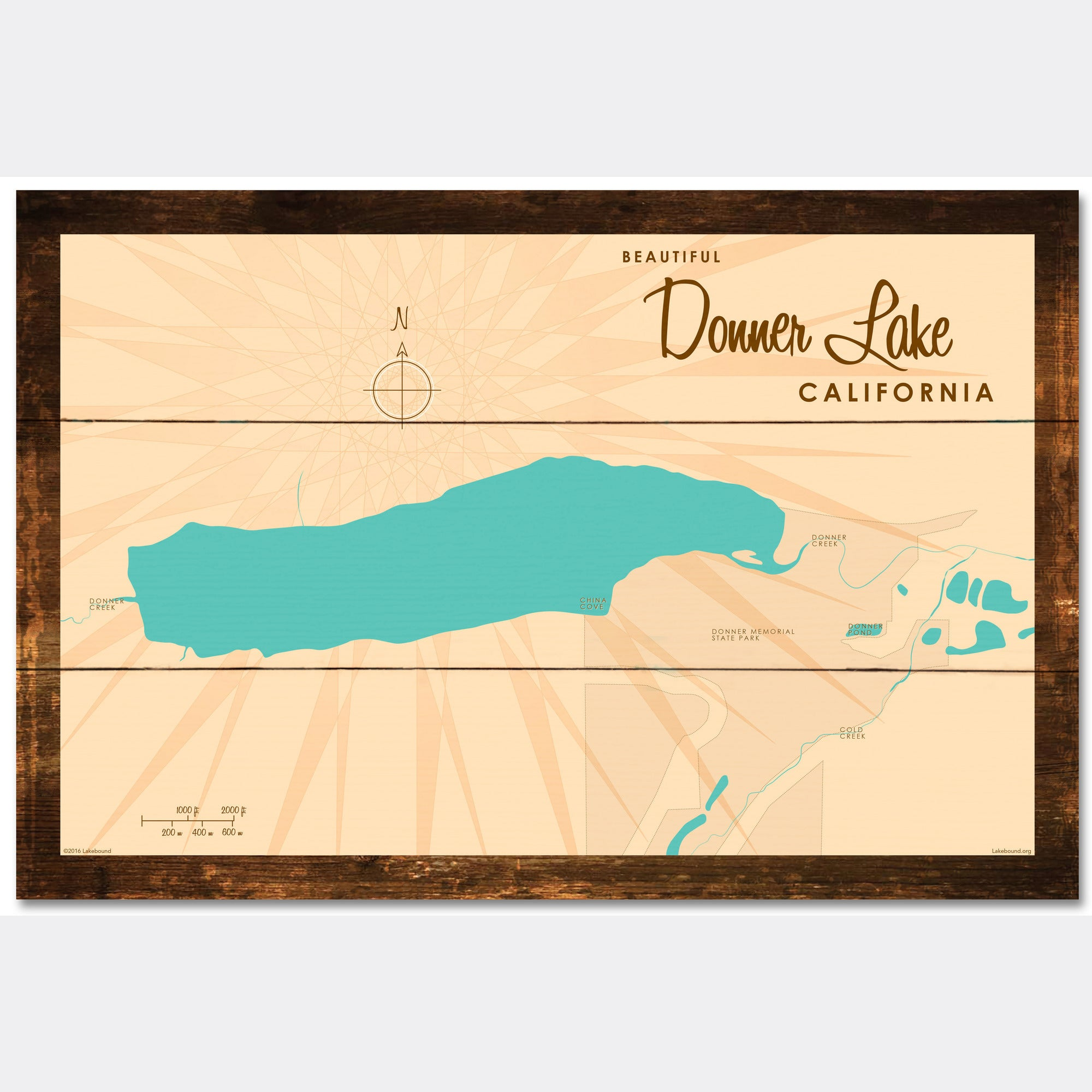 Donner Lake California, Rustic Wood Sign Map Art