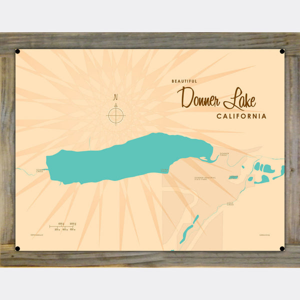 Donner Lake California, Wood-Mounted Metal Sign Map Art