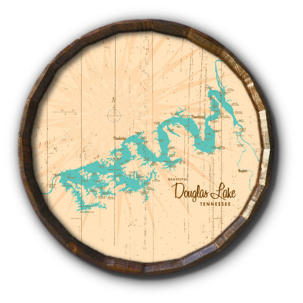 Douglas Lake Tennessee, Rustic Barrel End Map Art