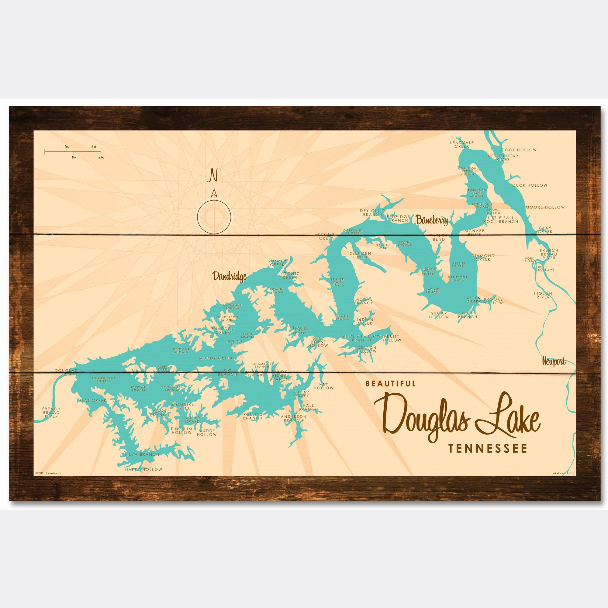 Douglas Lake Tennessee, Rustic Wood Sign Map Art