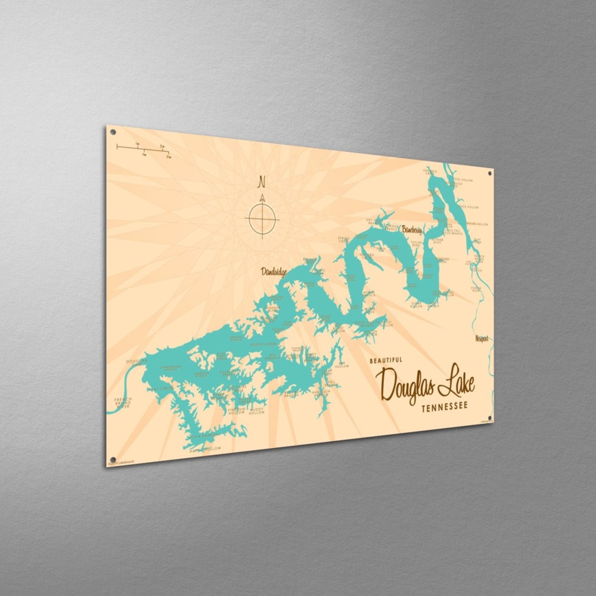Douglas Lake Tennessee, Metal Sign Map Art