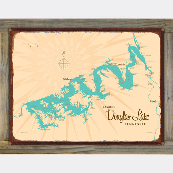 Douglas Lake Tennessee, Wood-Mounted Rustic Metal Sign Map Art