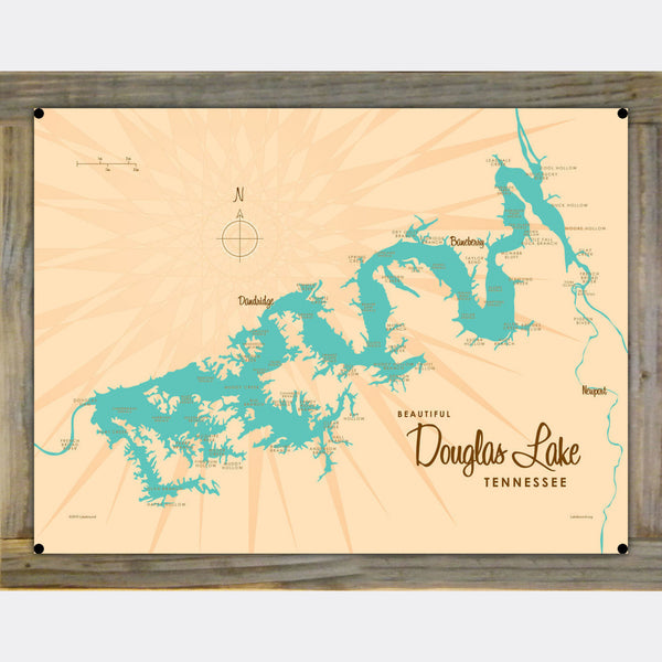 Douglas Lake Tennessee, Wood-Mounted Metal Sign Map Art