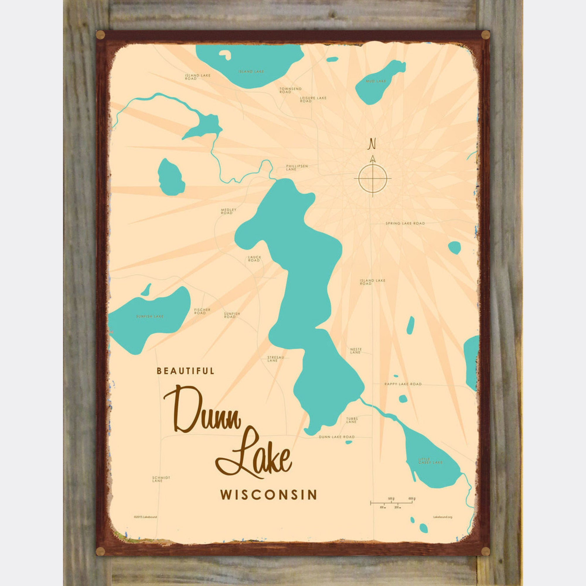 Dunn Lake Wisconsin, Wood-Mounted Rustic Metal Sign Map Art