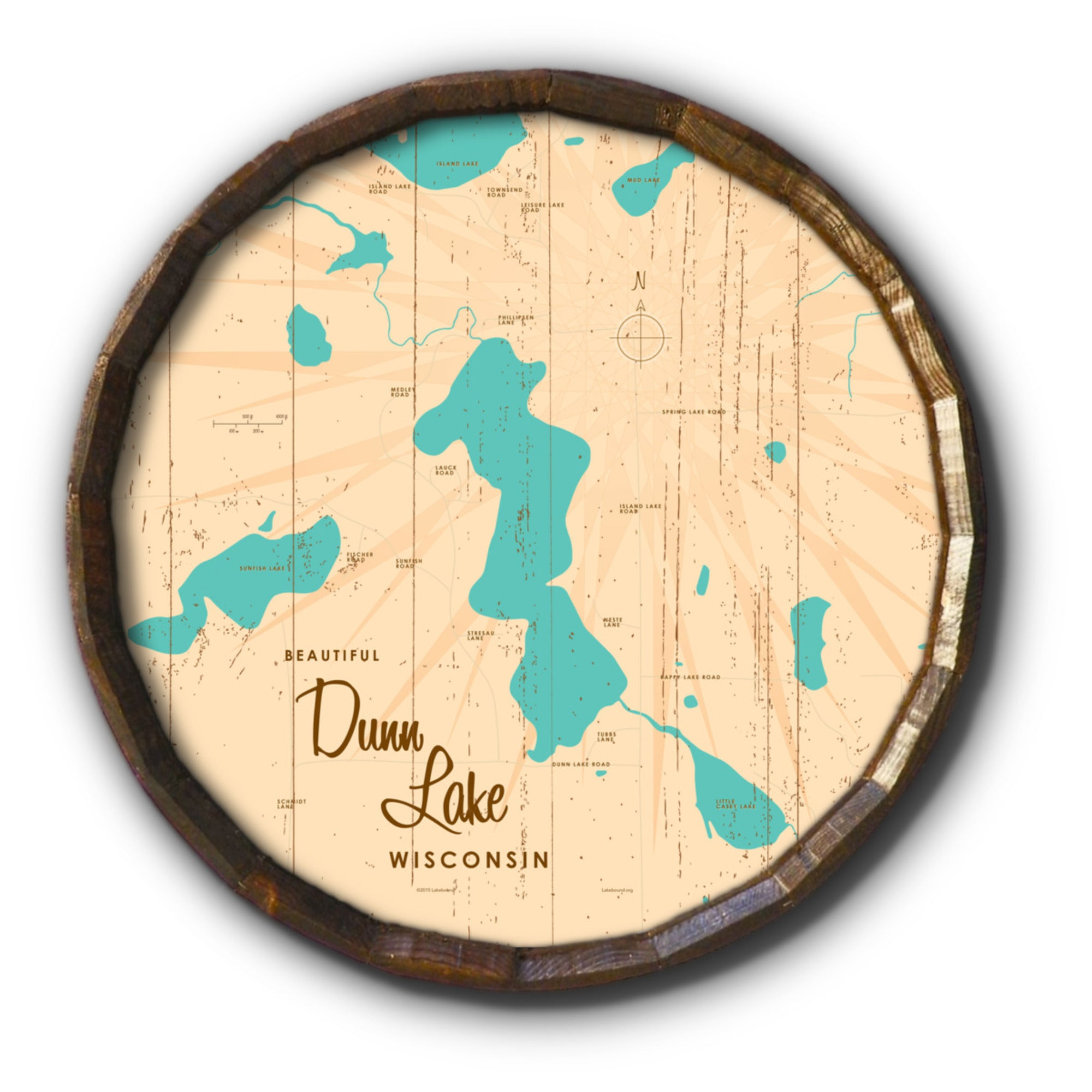 Dunn Lake Wisconsin, Rustic Barrel End Map Art