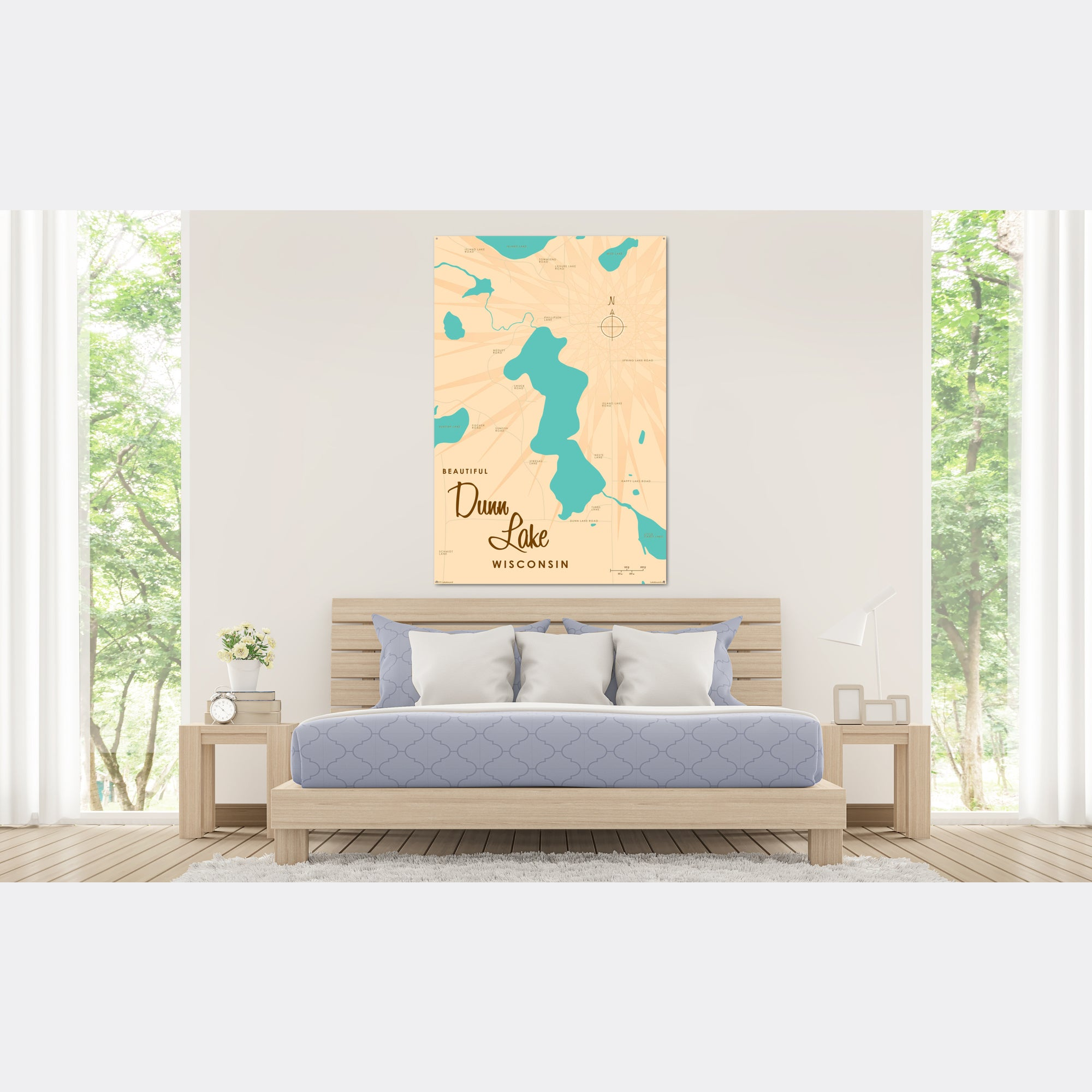 Dunn Lake Wisconsin, Metal Sign Map Art