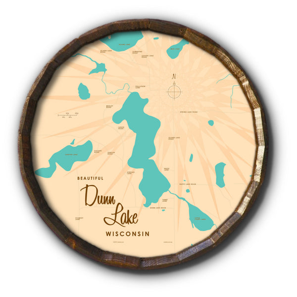 Dunn Lake Wisconsin, Barrel End Map Art