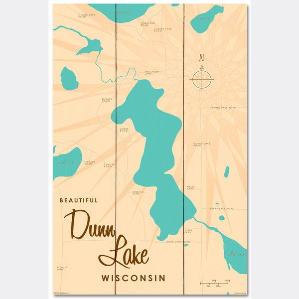 Dunn Lake Wisconsin, Wood Sign Map Art
