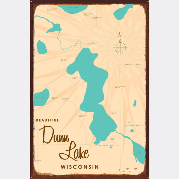 Dunn Lake Wisconsin, Rustic Metal Sign Map Art