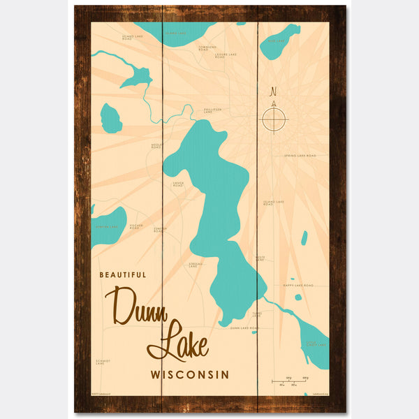 Dunn Lake Wisconsin, Rustic Wood Sign Map Art