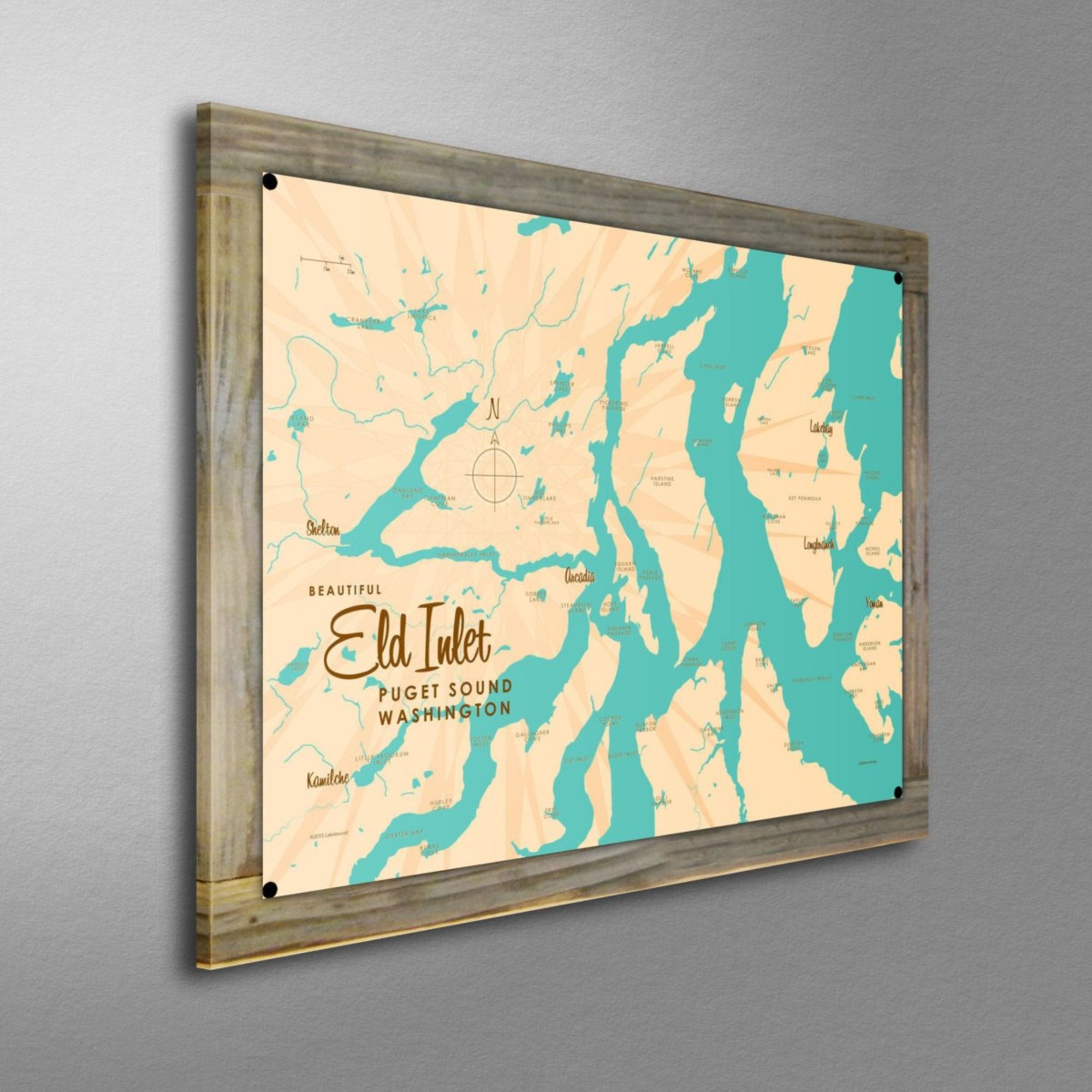 Eld Inlet, Washington, Wood-Mounted Metal Sign Map Art