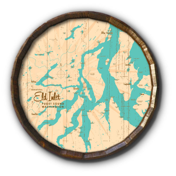 Eld Inlet, Washington, Rustic Barrel End Map Art