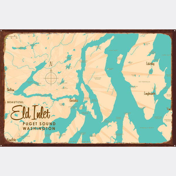 Eld Inlet, Washington, Rustic Metal Sign Map Art