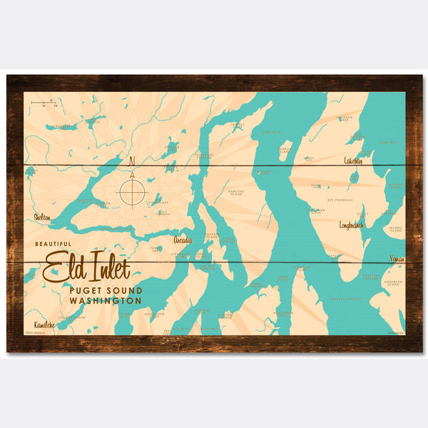 Eld Inlet, Washington, Rustic Wood Sign Map Art