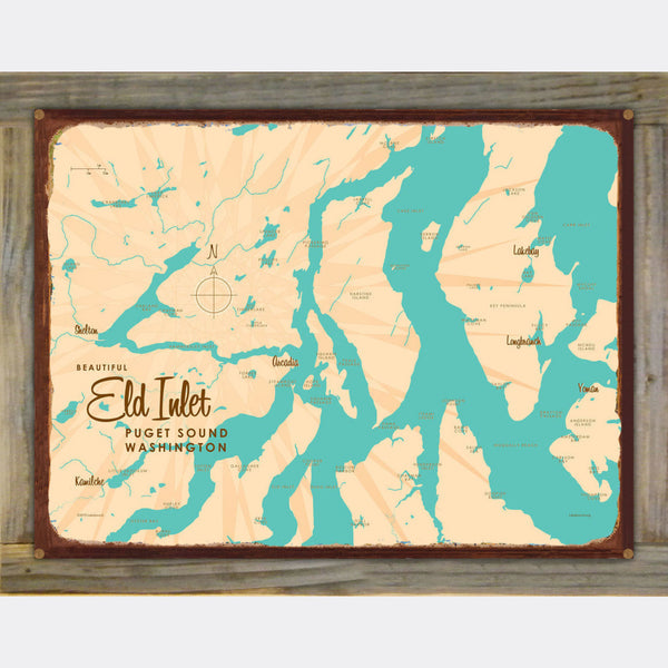 Eld Inlet, Washington, Wood-Mounted Rustic Metal Sign Map Art