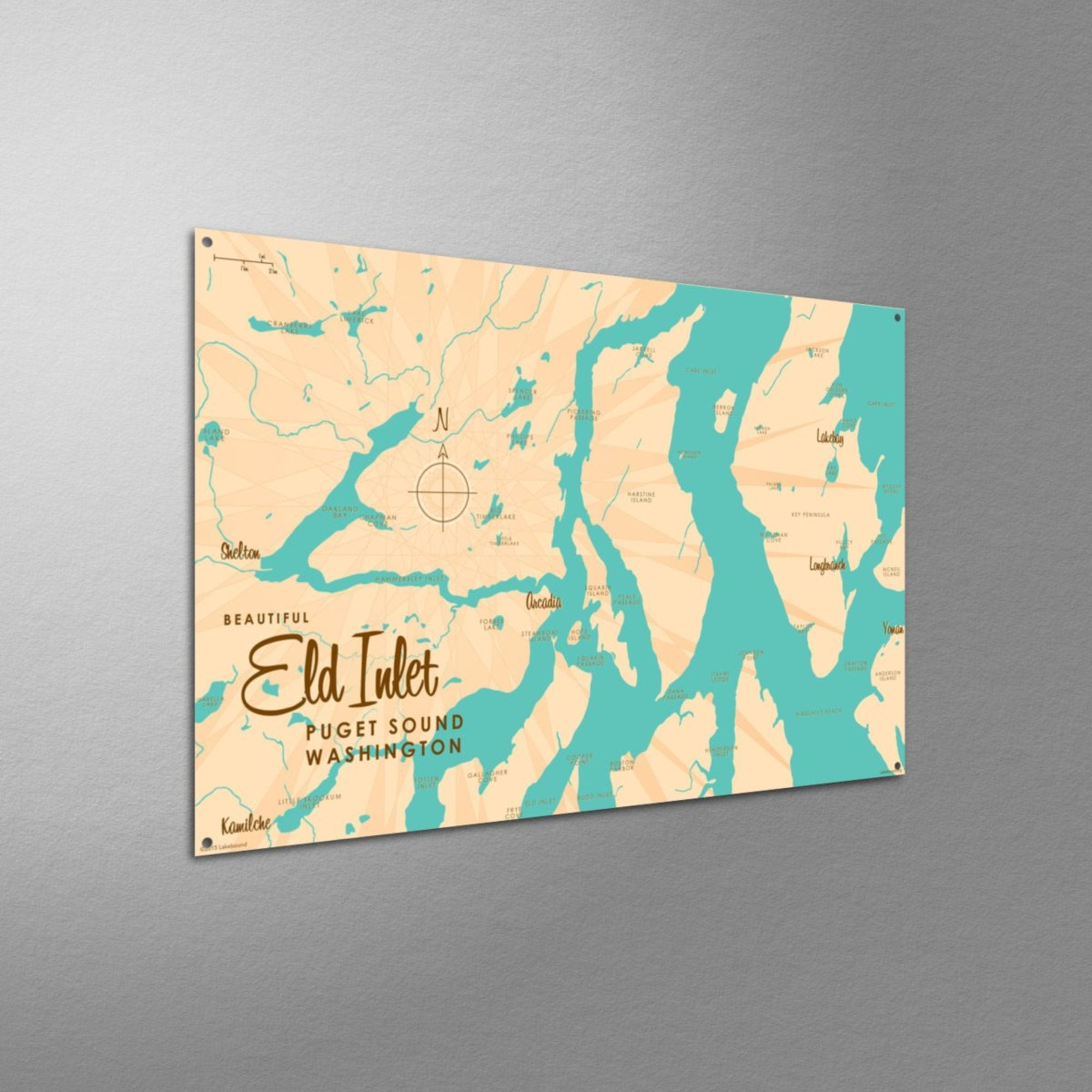 Eld Inlet, Washington, Metal Sign Map Art