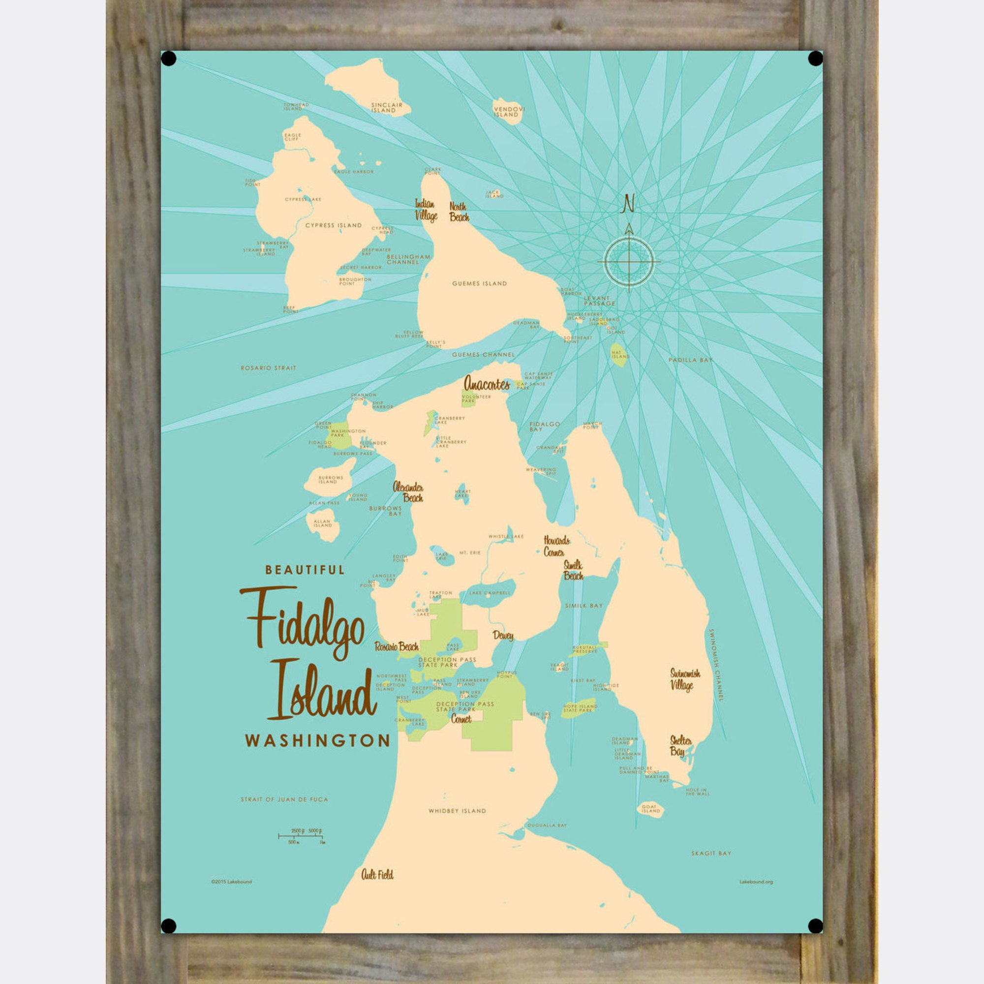 Fidalgo Island Washington, Wood-Mounted Metal Sign Map Art