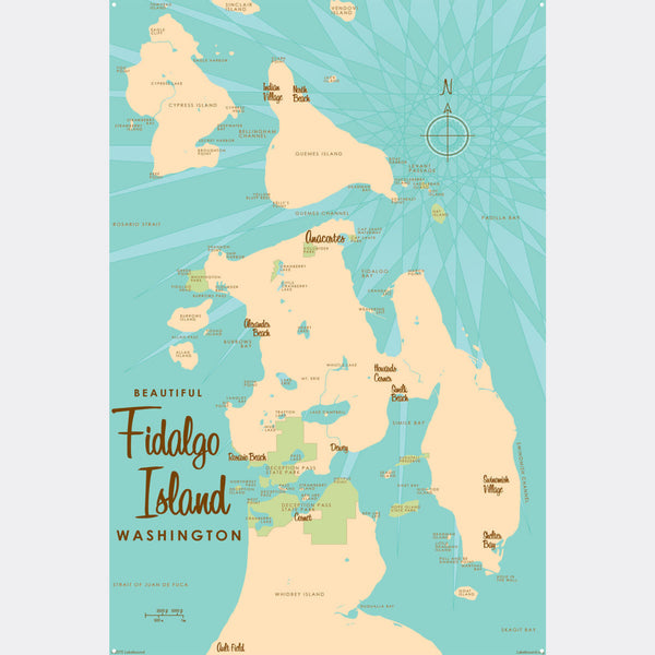 Fidalgo Island Washington, Metal Sign Map Art