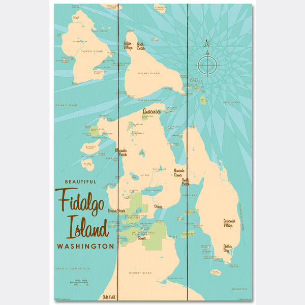 Fidalgo Island Washington, Wood Sign Map Art