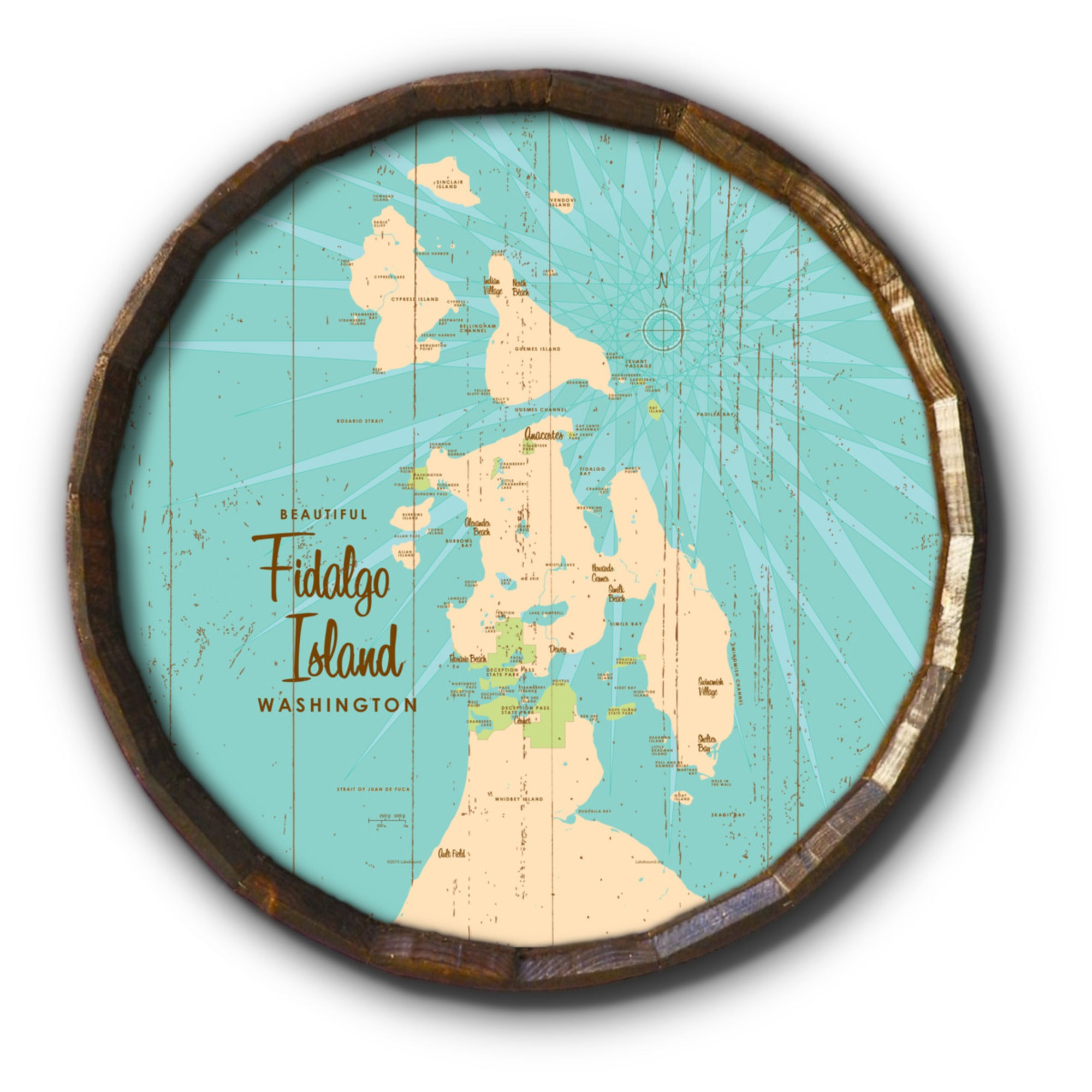 Fidalgo Island Washington, Rustic Barrel End Map Art